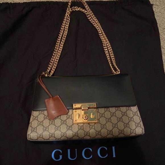 Gucci brown and black padlock medium shoulder bag